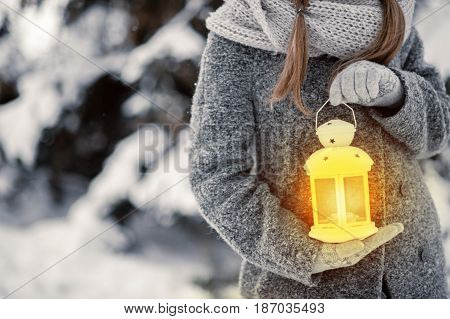 beautiful young girl in a gray coat in winter forest holding decoration. copy space