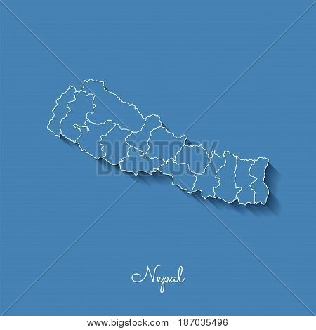 Nepal Region Map: Blue With White Outline And Shadow On Blue Background. Detailed Map Of Nepal Regio