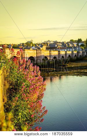 Berwick Bridge also known as the Old Bridge spans the River Tweed in Berwick-upon-Tweed Northumberland England