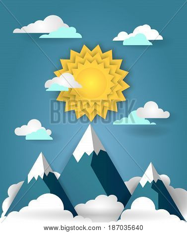 Summer mountain landscape. Alpine mountains and sun on a blue sky. Nature background vector illustration in paper art style.