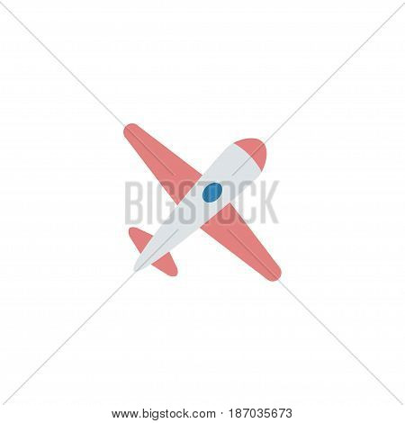 Flat Airplane Element. Vector Illustration Of Flat Aircraft Isolated On Clean Background. Can Be Used As Airplane, Aircraft And Plane Symbols.