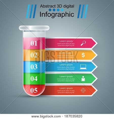 Tube experiments. Abstract infographics. Education paper illustration