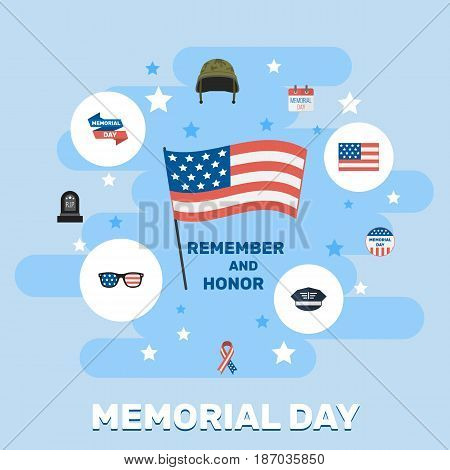 Flat Spectacles, Tomb, History And Other Vector Elements. Set Of Memorial Flat Symbols Also Includes Soldier, Tomb, Helmet Objects.