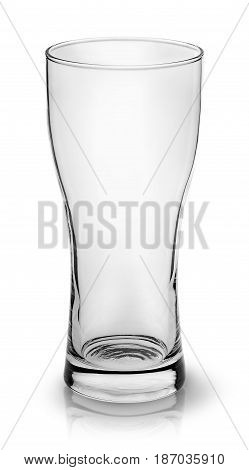 Empty small beer glass top view isolated on white background
