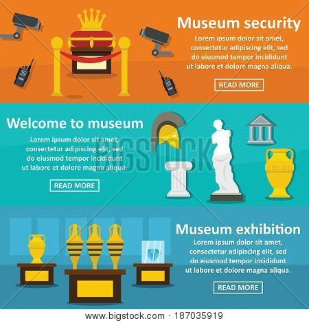 Museum exhibit banner horizontal concept set. Flat illustration of 3 museum exhibit vector banner horizontal concepts for web
