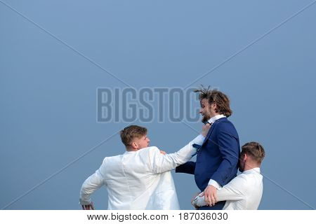 Raidership, Group Of Business People Fighting On Blue Sky Background