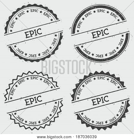 Epic Insignia Stamp Isolated On White Background. Grunge Round Hipster Seal With Text, Ink Texture A