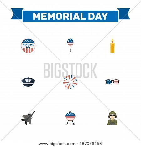 Flat Spectacles, Usa Badge, Decoration And Other Vector Elements. Set Of Memorial Flat Symbols Also Includes Firecracker, Glasses, Firework Objects.