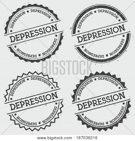 Depression Insignia Stamp Isolated On White Background. Grunge Round Hipster Seal With Text, Ink Tex