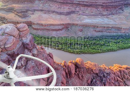 aerial photography concept - Canyon of Colorado River near Moab, Utah with a drone proppeler