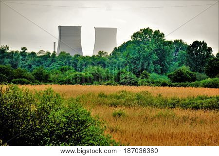 Nature reserve Wagbachniederung Germany with nuclear plant