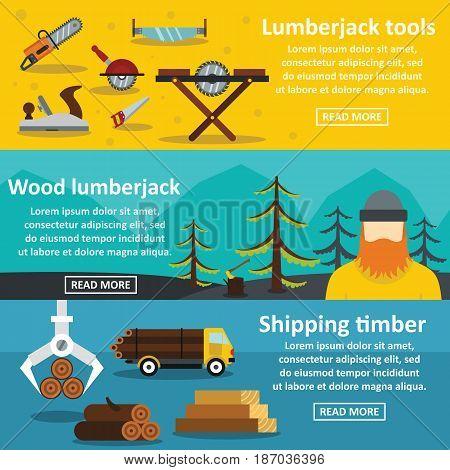 Lumberjack tools banner horizontal concept set. Flat illustration of 3 lumberjack tools vector banner horizontal concepts for web