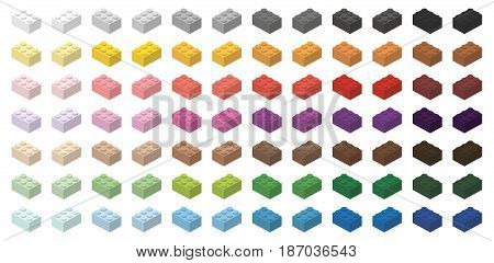 Children brick toy simple colorful bricks 3x2 high, isolated on white background