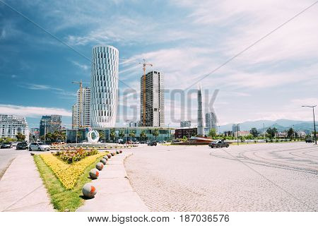 Batumi, Adjara, Georgia - May 25, 2016: Public Service Hall In Batumi, Adjara, Georgia. Sunny Summer Day With Blue Sky Over Street. Urban Architecture In Batumi.