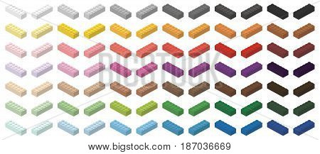 Children brick toy simple colorful bricks 6x2 high, isolated on white background