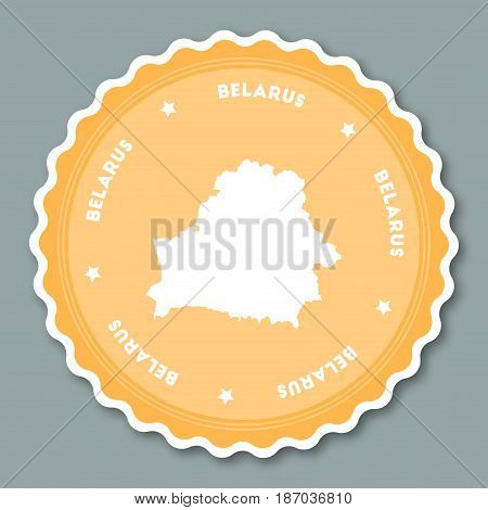Belarus Sticker Flat Design. Round Flat Style Badges Of Trendy Colors With Country Map And Name. Cou