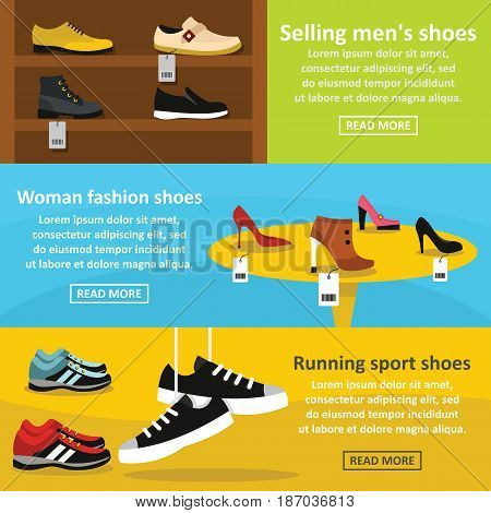 Shoes fasion banner horizontal concept set. Flat illustration of 3 shoes fasion vector banner horizontal concepts for web