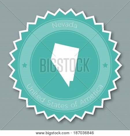 Nevada Badge Flat Design. Round Flat Style Sticker Of Trendy Colors With The State Map And Name. Us