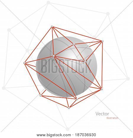 Gray abstract volumetric sphere in a red polygonal grid on a white background