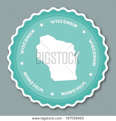 Wisconsin Sticker Flat Design. Round Flat Style Badges Of Trendy Colors With The State Map And Name.