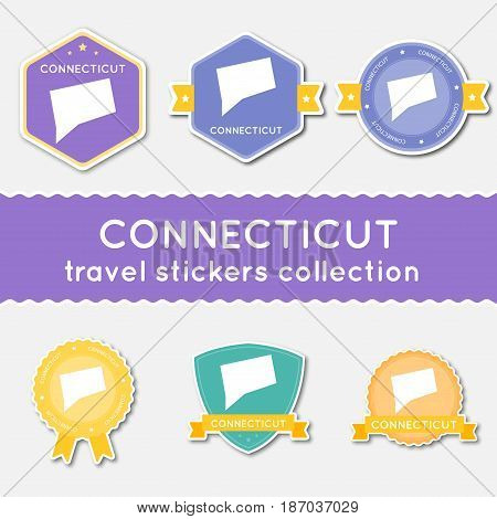 Connecticut Travel Stickers Collection. Big Set Of Stickers With Us State Map And Name. Flat Materia