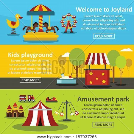 Kids playground banner horizontal concept set. Flat illustration of 3 kids playground vector banner horizontal concepts for web
