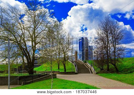 Belarus Minsk May 11 2017 panoramic view of the business center