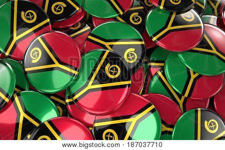 Vanuatu Badges Background - Pile Of Vanuatu Flag Buttons.