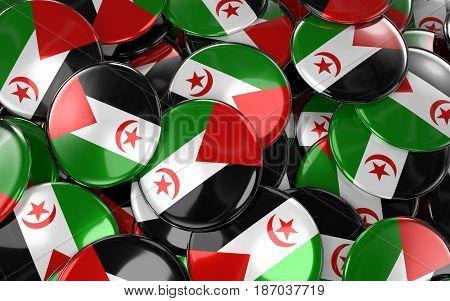 Western Sahara Badges Background - Pile Of Western Sahara Flag Buttons.