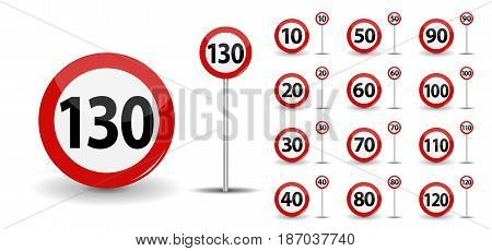 Round Red Road Sign Speed limit 10-130 kilometers per hour. Vector Illustration. EPS10