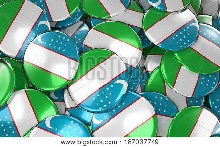 Uzbekistan Badges Background - Pile Of Uzbek Flag Buttons.