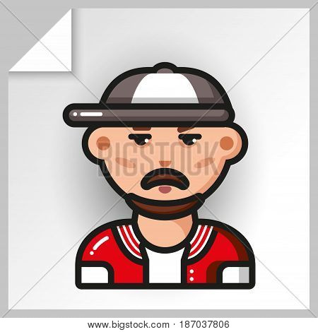 Cartoon male avatars- face icons. Vector Isolated flat colorful illustration. A man with a beard and a mustache in a sweatshirt and a baseball cap.