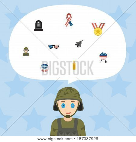 Flat Fire Wax, Usa Badge, Tomb And Other Vector Elements. Set Of Day Flat Symbols Also Includes Aircraft, Tomb, Ribbon Objects.