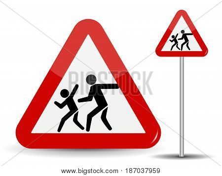 Road sign Warning Children. In the Red Triangle running kids. Vector Illustration. EPS10