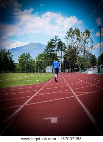 Athletic running track sports recreation healthy life sunny day