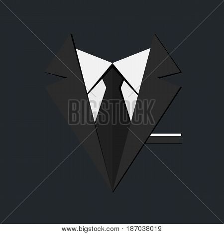 Black men's suit white shirt and tie. Vector illustration