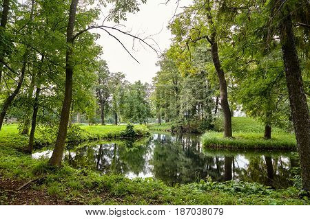 A picturesque view in Gatchina Palace Park on the beautiful nature and architecture