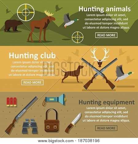 Hunting banner horizontal concept set. Flat illustration of 3 hunting vector banner horizontal concepts for web
