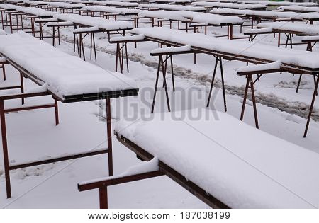 ZAGREB, CROATIA - JANUARY 03: The snows covered stalls on the empty Zagreb market, Croatia January 03, 2016
