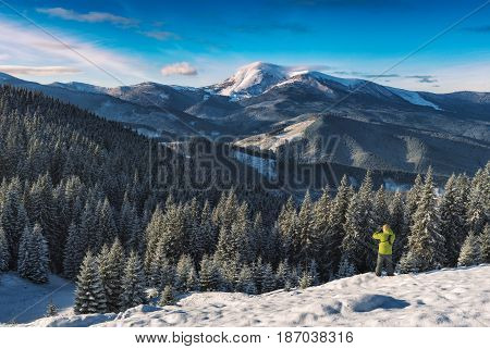Photographer In A Winter Carpathians