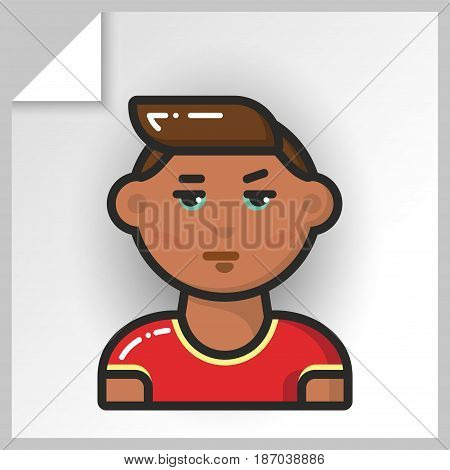 Cartoon male avatars- face icons. Vector Isolated flat colorful illustration. Swarthy guy in a red T-shirt.