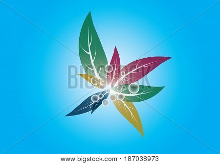 Colored flowers on blue background with bubble potsentru