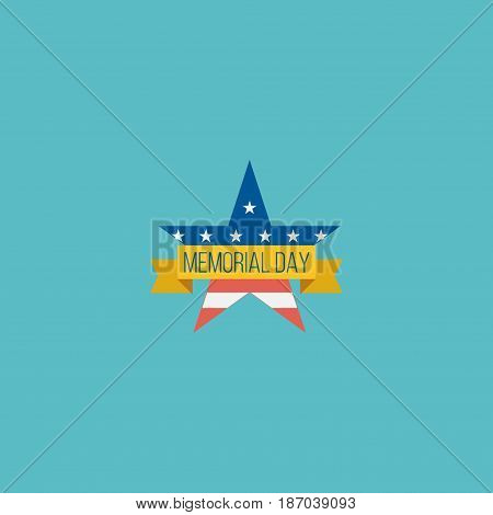Flat Badge Element. Vector Illustration Of Flat Memorial Day Isolated On Clean Background. Can Be Used As Usa, Memorial And Day Symbols.