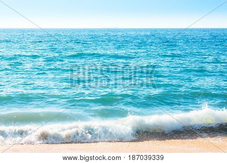 Seafoam On The Coast With Water Surface On The Background