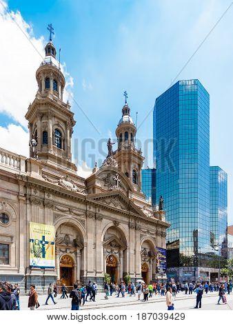 Catedral Metropolitana De Santiago On Plaza De Armas, Chile