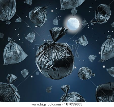 Black garbage bags in the space. Full moon in the sky. Environmental damage and pollution concept.