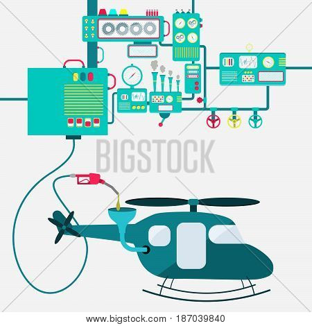Machinery of factory refining gasoline and refueling a helicopter. Copter being fueled by a gas pump.