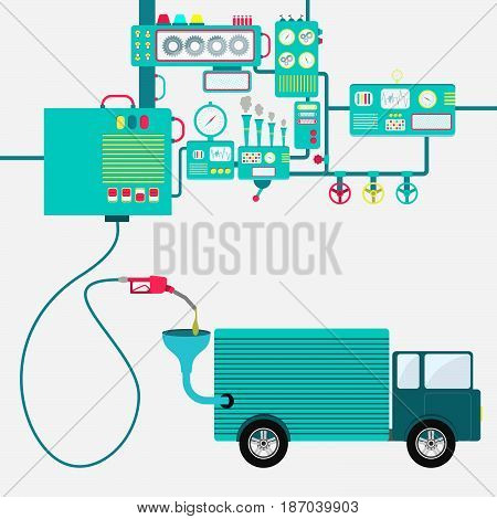 Machinery of factory refining gasoline and refueling a truck. Truck being fueled by a gas pump.