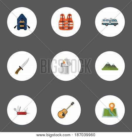 Flat Ship, Penknife, Hill And Other Vector Elements. Set Of Camp Flat Symbols Also Includes Mountain, Mount, Hill Objects.
