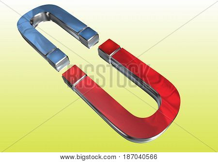 a second magnet red blue arranged one on one against a yellow background
